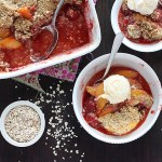 Strawberry peach crumble combines juicy peaches and sweet strawberries with a crispy oat topping. It's a yummy, sweet summertime dessert.