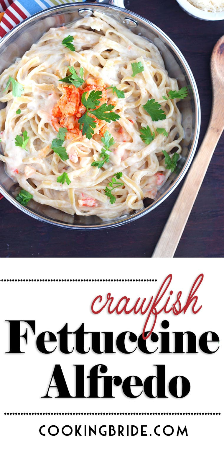 Succulent crawfish tails are tossed with creamy alfredo sauce and tender fettuccine noodles in this recipe for crawfish fettuccine alfredo.