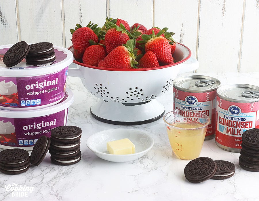 ingredients for strawberry ice cream cake