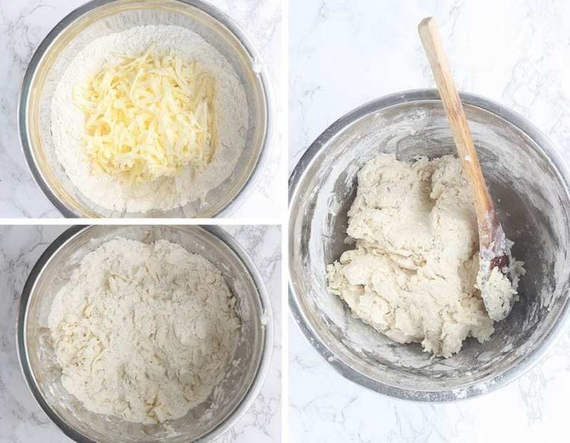 top left: grated butter sitting on top of flour in a steel mixing bowl; bottom left: flour with grated butter in a steel mixing bowl; right: mixed biscuit dough in a steel bowl