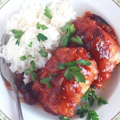 Glazed Cranberry Chicken Thighs