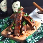 These bbq pork ribs are marinated overnight in Guinness beer, then grilled and basted with a glaze of honey, soy sauce, garlic, and black pepper.