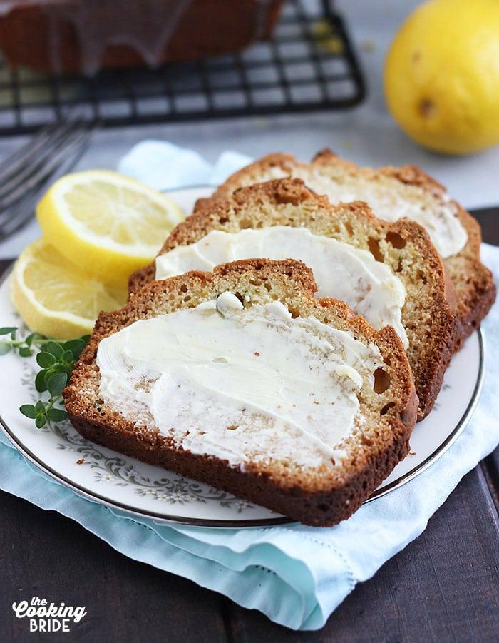 sliced lemon loaf cake on a plate