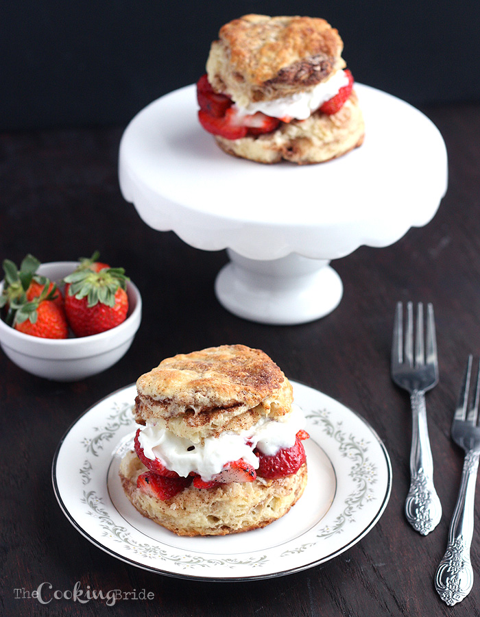 Strawberry Shortcakes with Cinnamon-Sugar Biscuits - CookingBride.com
