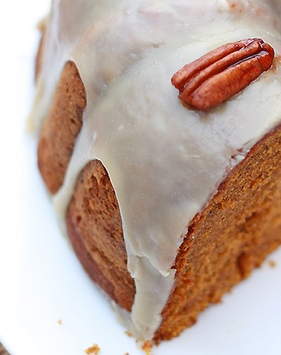 Pumpkin Pecan Cake with Bourbon Glaze