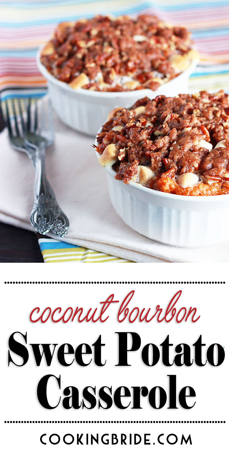 Sweet potato casserole with pecans is taken to the next level with coconut, bourbon, raisins, and a crunchy brown sugar topping.
