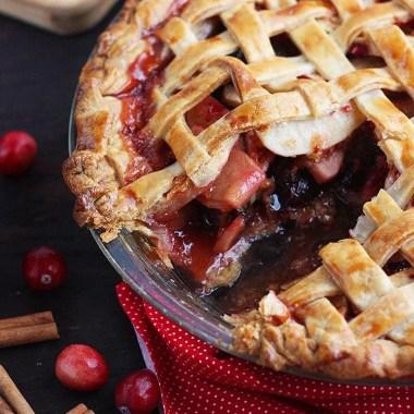 sliced cranberry apple lattice pie