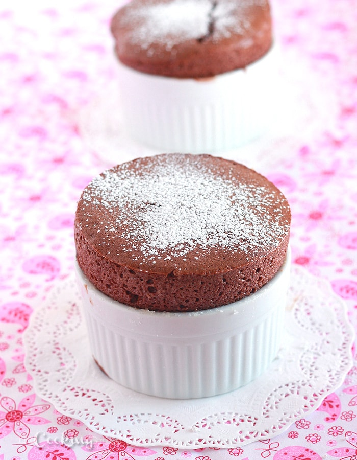 If you are a chocolate lover, you need to give this mini chocolate souffle recipe a try. It's light, fluffy and oh so decadent.
