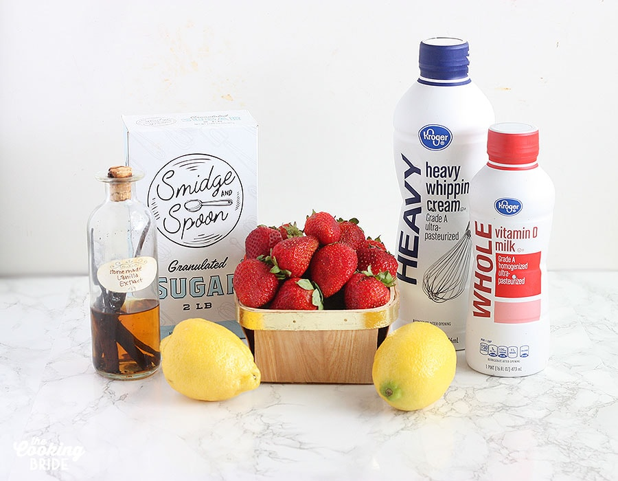 arrangement of ingredients for strawberry ice cream