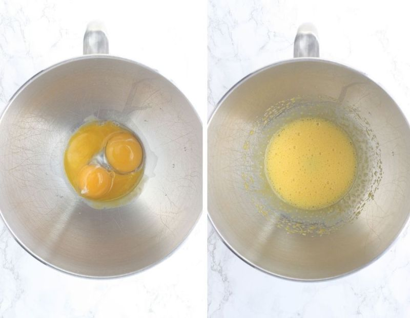 on the left, three egg yolks in a metal mixing bowl. On the right, egg yolks whipped until frothy