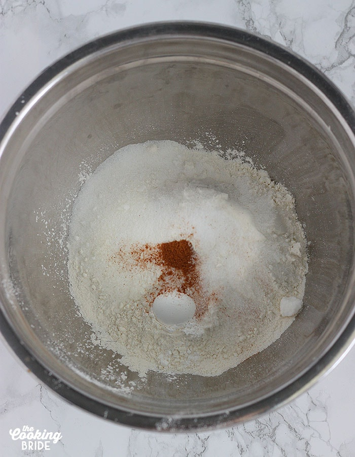 flour sugar and spices in a mixing bowl