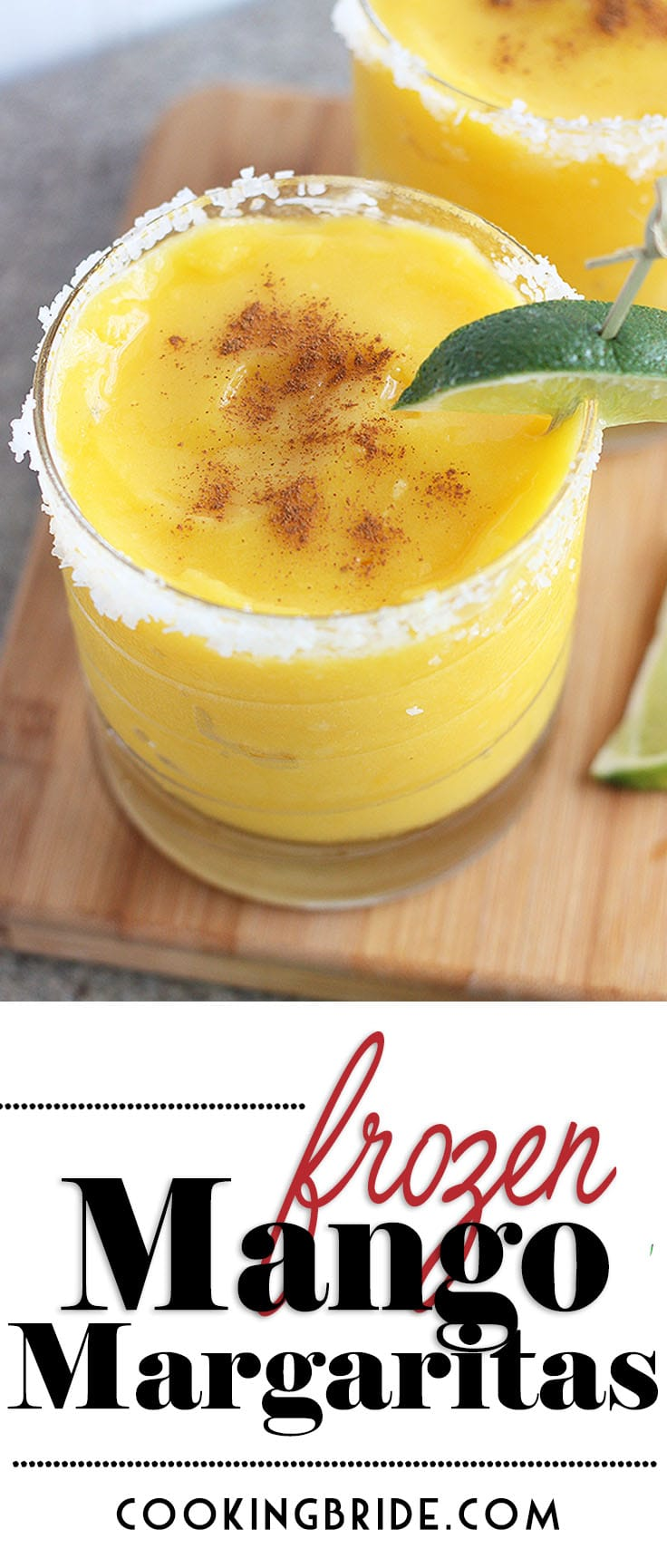 Frozen mango margarita recipe is sweet and refreshing. Frozen mango chunks and combined with orange juice, fresh lime juice and orange liquor, then garnished with a sprinkle of warm cinnamon.