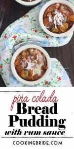 Pina Colada Pineapple Bread Pudding with Rum Sauce P