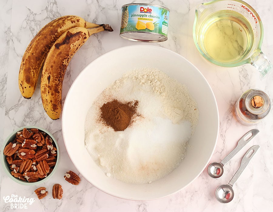 flat lay of ingredients for Hummingbird bundt cake