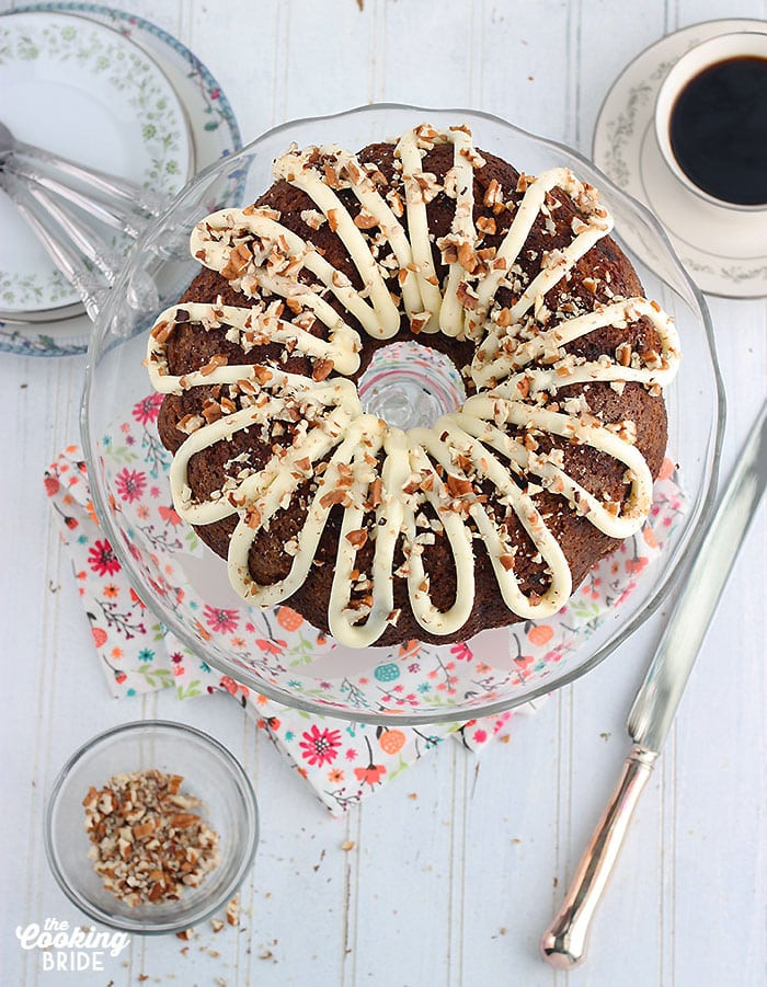 overhead shot of Hummingbird bundt cake