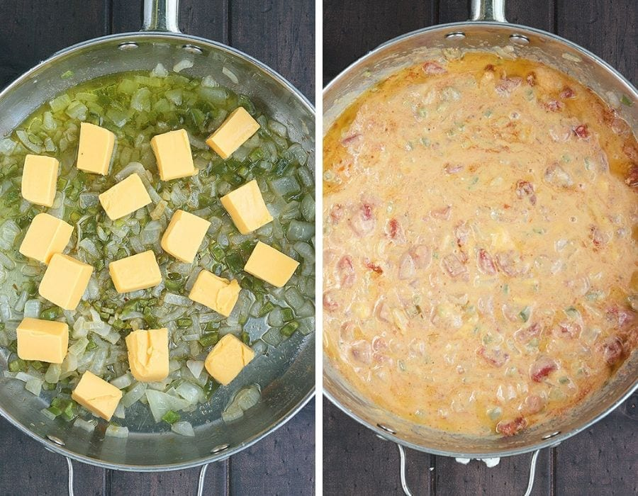 cut up pieces of Velveeta cheese and sauteed vegetables in a large stainless steel skillet and melted cheese, rotel tomatoes and vegetables in a large stainless steel skillet