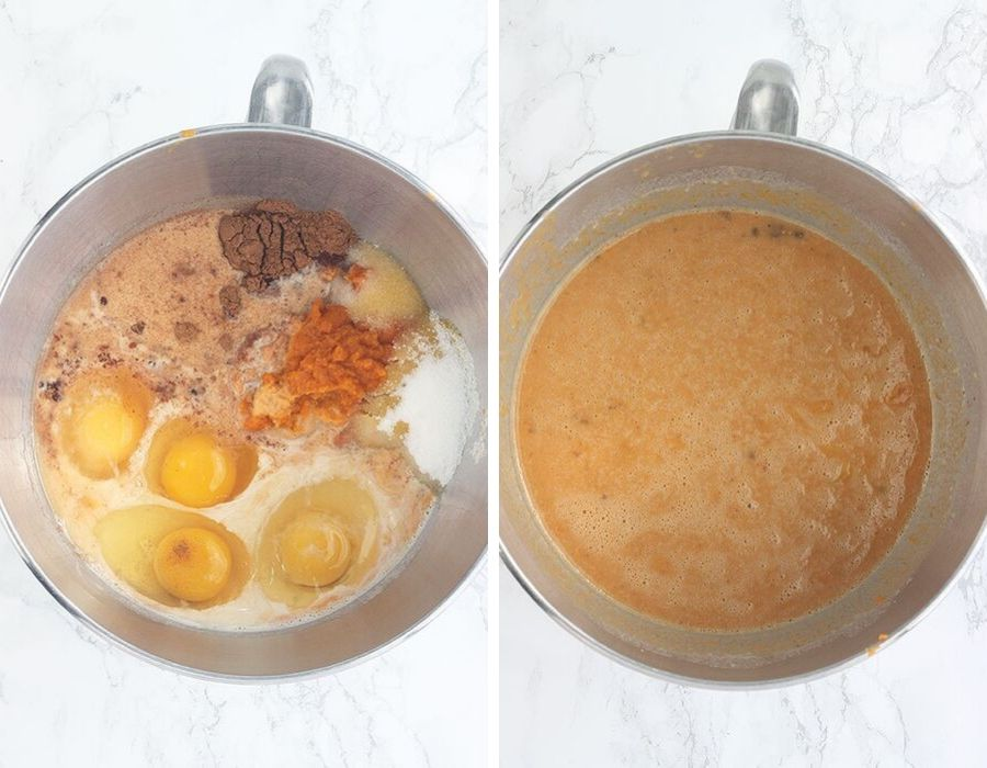 Left, unmixed pumpkin layer ingredients in a metal mixing bowl Right, pumpkin mixture in a mixing bowl after it has been combined. Right,