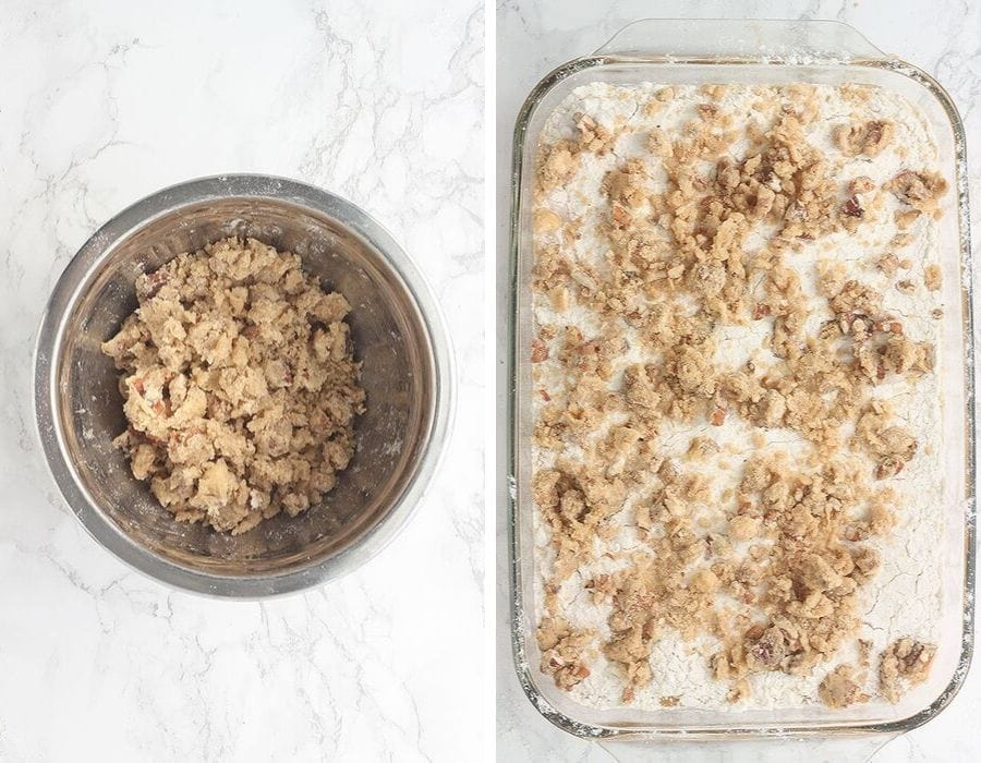 Left, mixed praline topping mixture in a mixing bowl. Right, overhead shot of assembled cake in a baking pan right before it goes into the oven