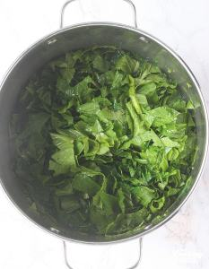 uncooked turnip green leaves in a stockpot