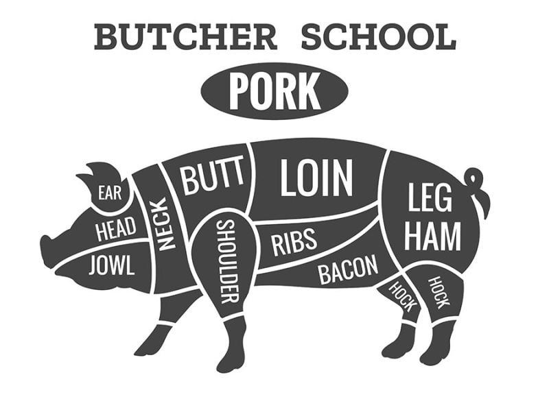 Vintage pork butcher diagram