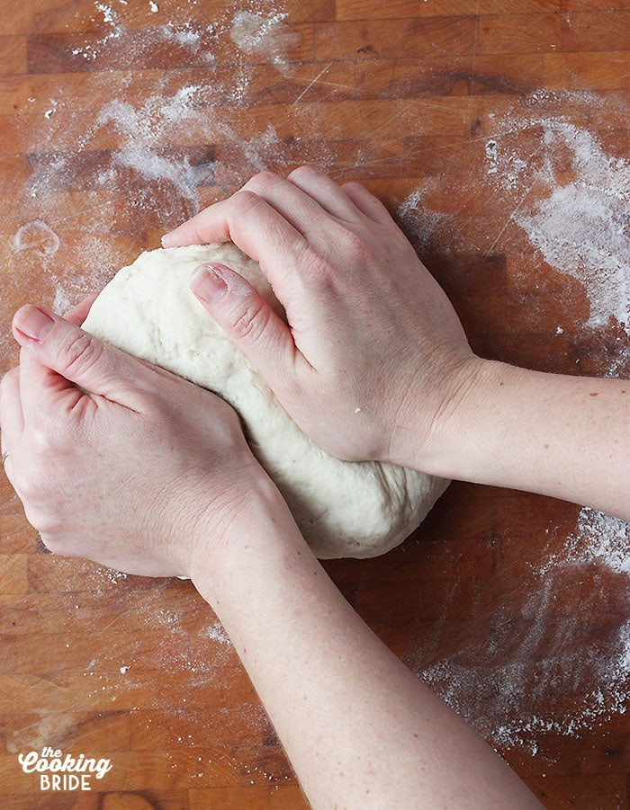 kneading the biscuit dough