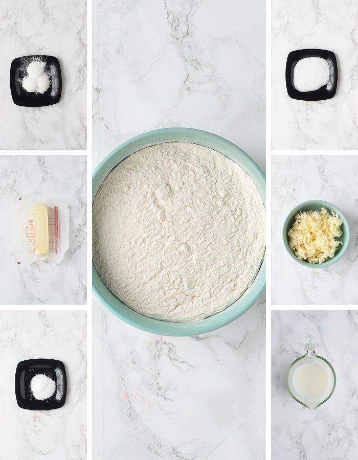 ingredients for praline pecan cathead biscuits including baking powder, unsalted butter, salt, flour, white sugar, unsalted butter and milk