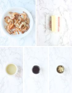 shrimp and grits ingredients including shrimp, butter, oil, Worcestershire sauce and minced garlic
