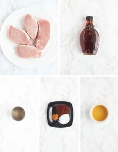 maple glazed pork chop ingredients including pork loin chops, maple syrup, cider vinegar, spices and apple juice