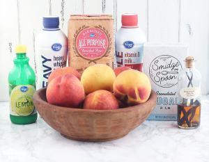 homemade peach ice cream ingredients include lemon juice, heavy cream, whole milk, sugar, vanilla and peaches