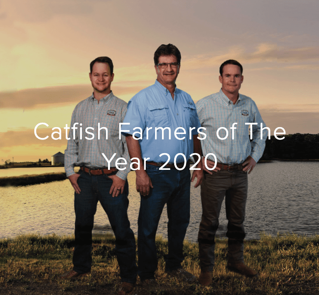 This year's Catfish Farmers of the Year are Luke Smelley of Greensboro, Alabama; Terry Kruse of McCrory, Arkansas; and Will Nobile of Moorhead, Mississippi.
