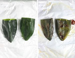 two poblano peppers on a foil lined baking sheet before and after roasting