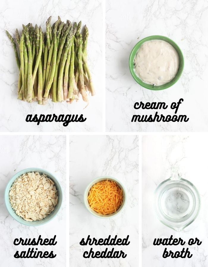 ingredients list for asparagus casserole - fresh asparagus, cream of mushroom soup, crushed saltines, shredded cheddar cheese and water or broth