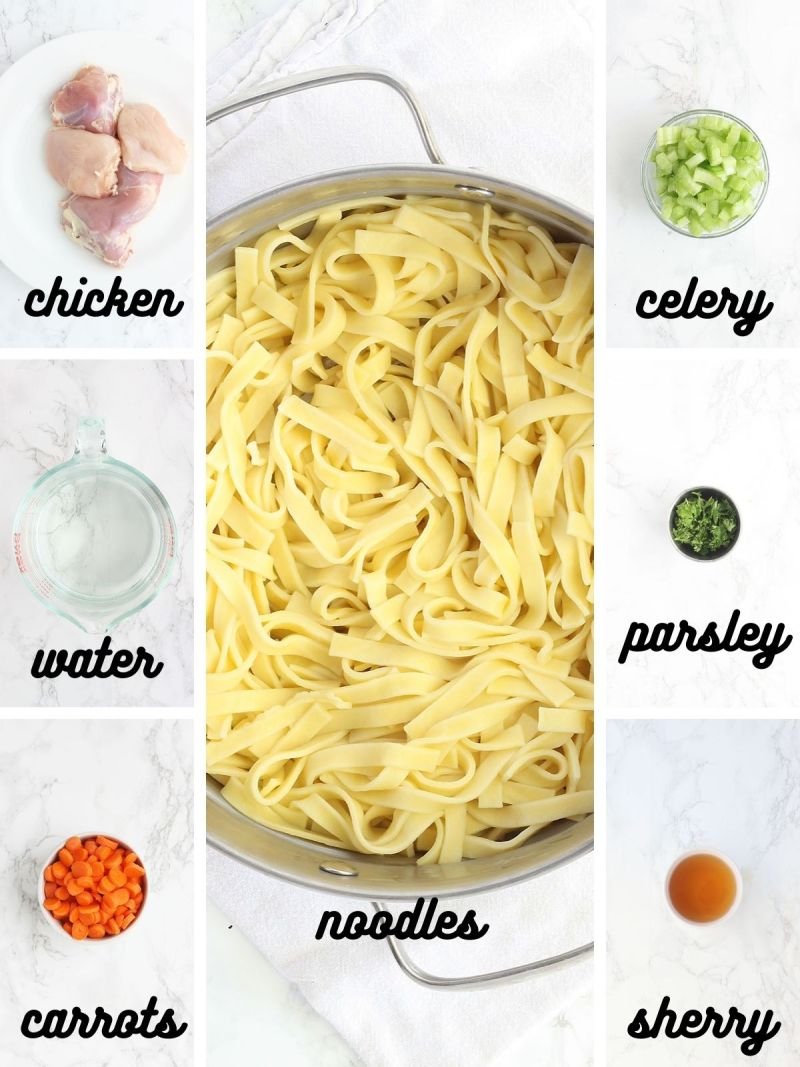 chicken noodle soup ingredients include raw chicken, water, carrots, celery, parsley, sherry and egg noodles