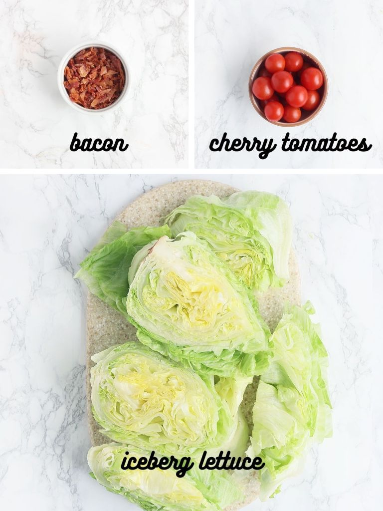 wedge salad ingredients include chopped cooked bacon, cherry tomatoes and iceberg lettuce