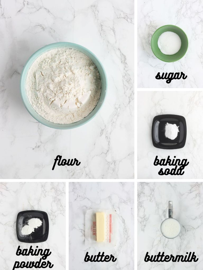 biscuit dough ingredients include flour, sugar, baking soda, baking powder, butter and buttermilk