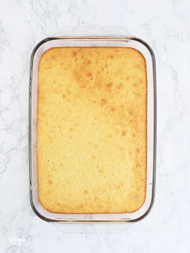 baked cornbread in a casserole dish