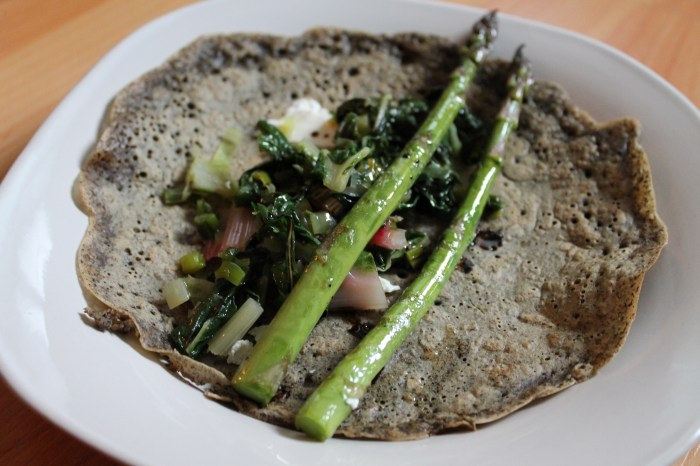 Gluten-Free, Vegan, Asparagus & Swiss Chard Crepes
