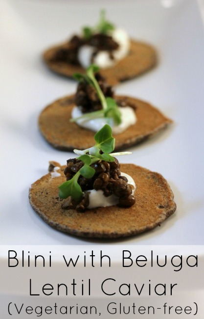 Blini with Beluga Lentil Caviar