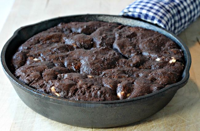 triple chocolate deep dish skillet cookie