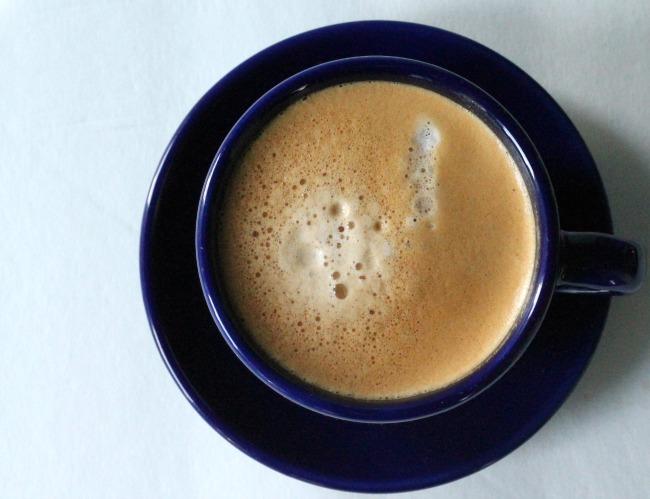 macchiato in a blue cup