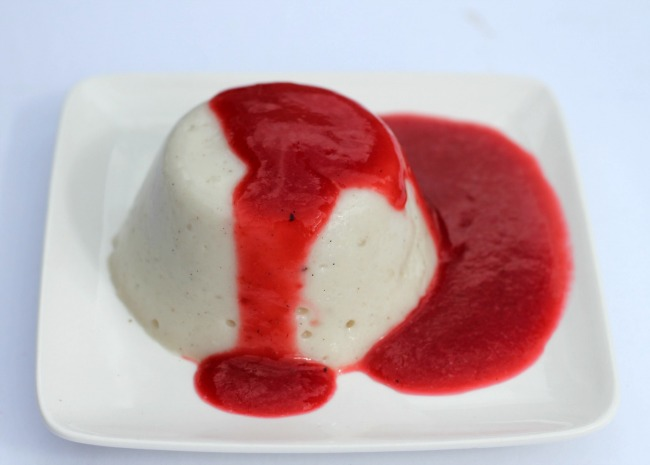 panna cotta with raspberry beer sauce