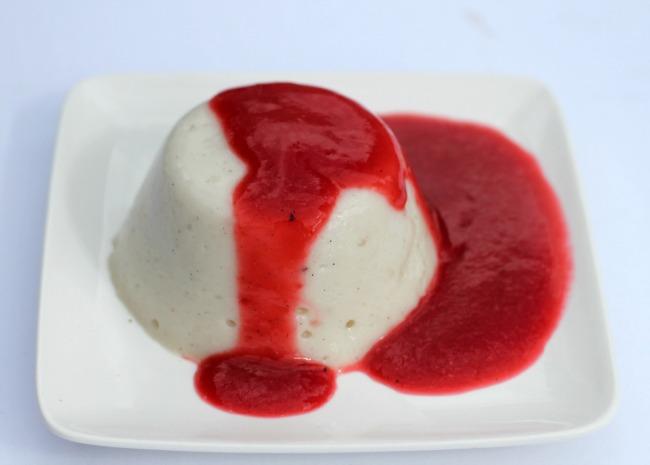 panna cotta with raspberry beer sauce