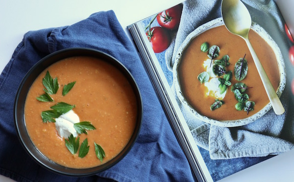 Blistered tomato soup cooking in color