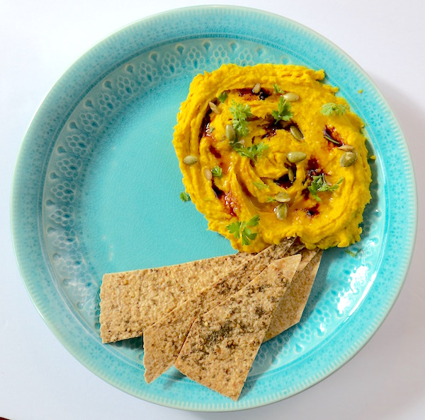 Roasted squash hummus with turmeric