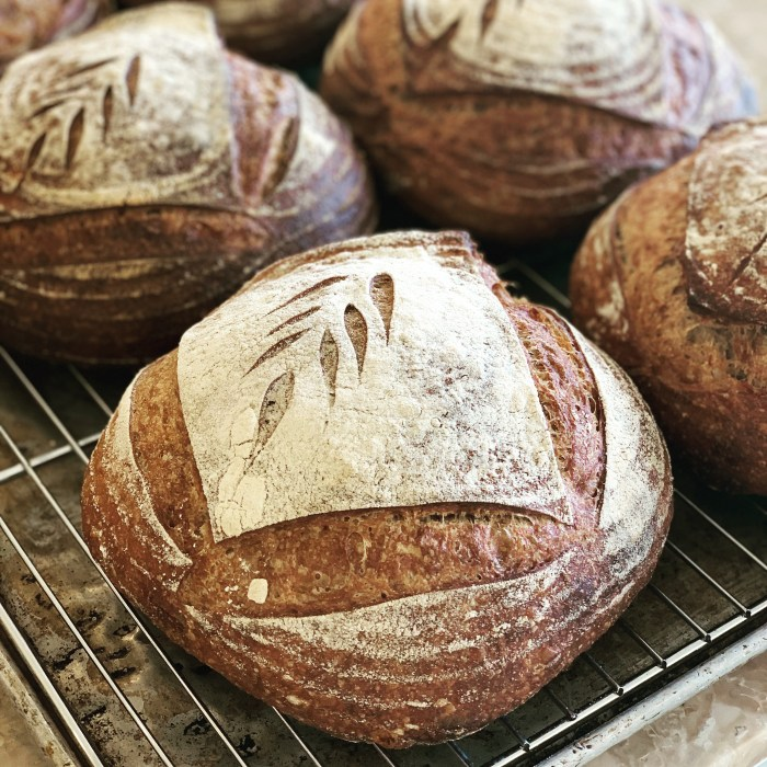 round loaves of sourdough bread