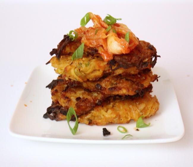 a stack of kimchi potato pancakes