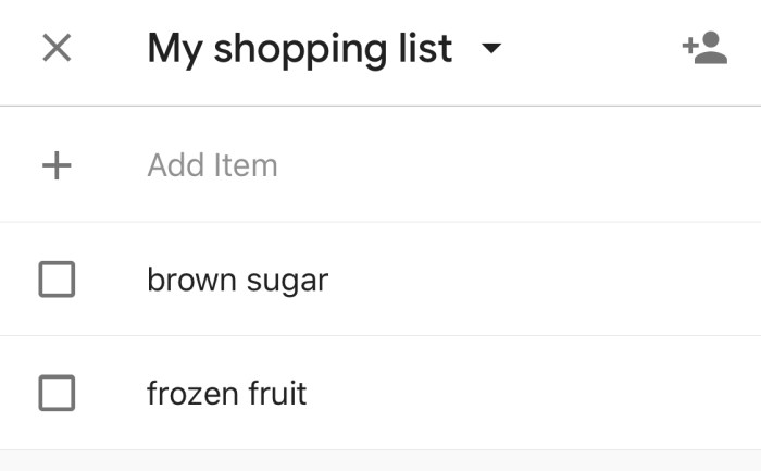 Google Home Shopping List
