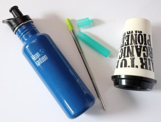 Reusable coffee cup, straw and waterbottle