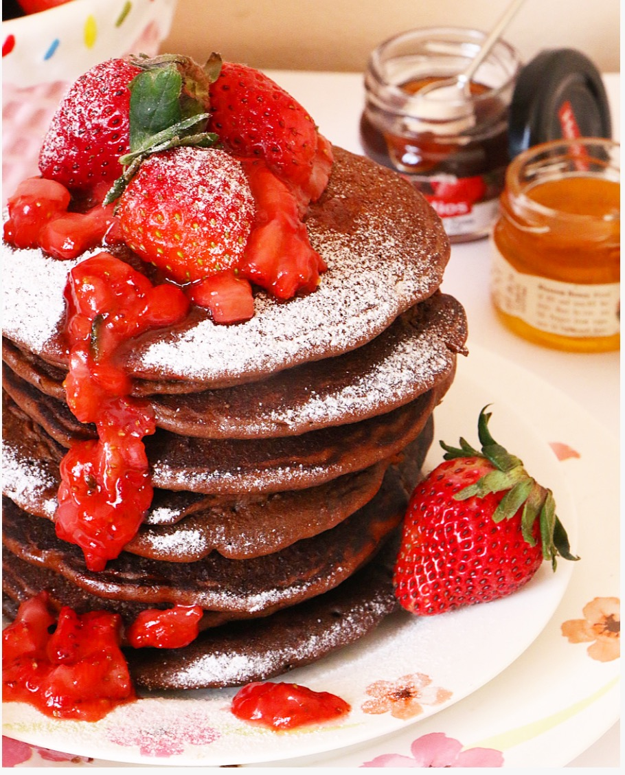 Chocolate Strawberry Pancakes