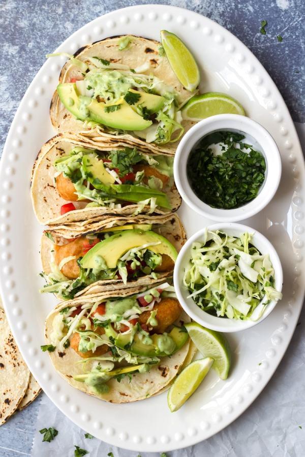 crispy baja fish tacos with cabbage slaw and cilantro